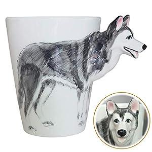WEY&FLY 3D Coffee Dog Mug, Animals Personalized Tea Cup, Creative Hand Painted 3D Dog Mug, Gift for Lovers Kids Friends (Siberian Husky) 2