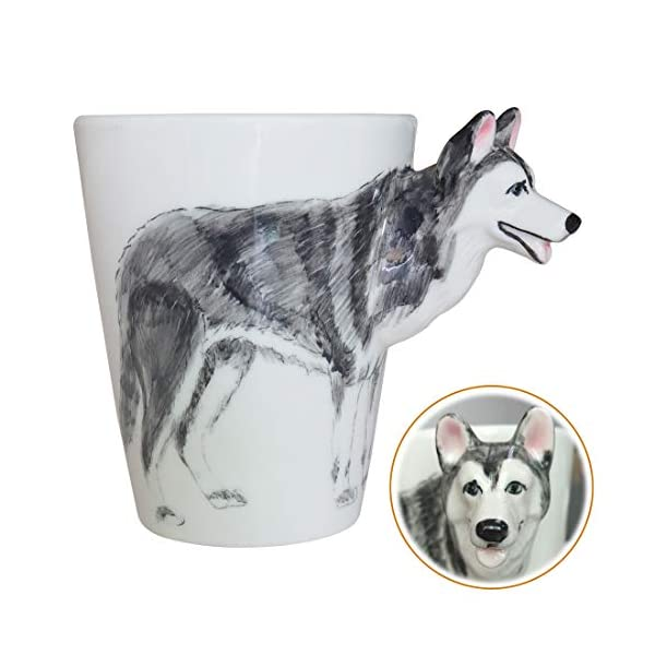 WEY&FLY 3D Coffee Dog Mug, Animals Personalized Tea Cup, Creative Hand Painted 3D Dog Mug, Gift for Lovers Kids Friends (Siberian Husky) 1