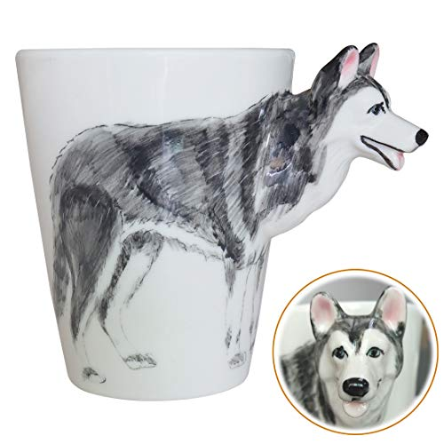 Huskies Cups - WEY&FLY 3D Coffee Dog Mug, Animals Personalized Tea Cup, Creative Hand Painted 3D Dog Mug, Gift for Lovers Kids Friends (Siberian Husky)