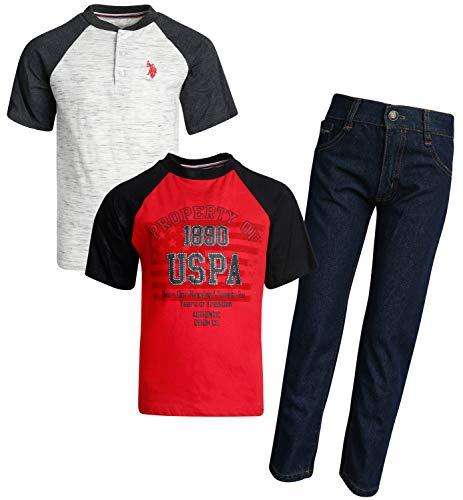 (U.S. Polo Assn. Boy\'s 3-Piece Fashion Knit Top and Pant Set (Denim/Henley,)