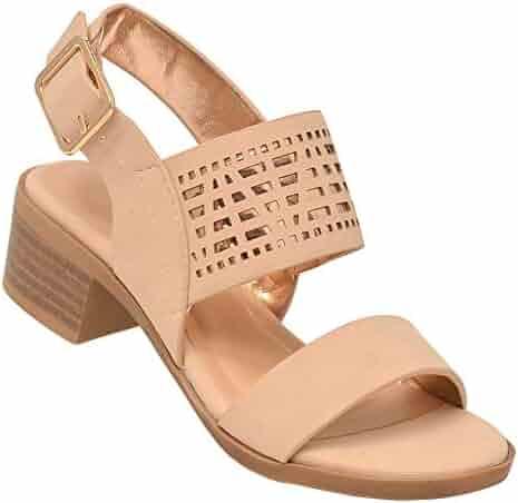 58fb24665914 Lov mark Girls Nude Cut-Out Panel Low Block Heel Open Toe Sandals 11-