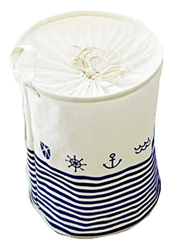 Cotton Hamper (Lannu Laundry Hamper Nursery Kid's Large size Fabric Cotton Linen Storage Bins Beach style Collapsible Baskets with Closing Top Drawstring Cover for Baby Toys Room Collection Organizer)