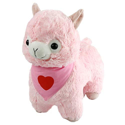 - Houwsbaby Stuffed Alpaca Cuddly Llama Soft Toy Sheep Plush Toy with A Kerchief Embroidered a Love Heart, Adorable Gift, 13 inches(Pink)