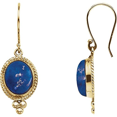 Jewels By Lux 14K Yellow Gold Lapis Cabochon (Yellow Gold Genuine Lapis Earring)