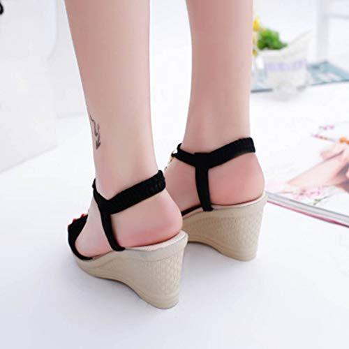 Printemps Eté Décontractée Chaîne Noir Talon Des Chaussures Coins Dames Femme Peep Cheville Electri Roman Toe Couleur Unie Bouche Sandales 8X0wvX