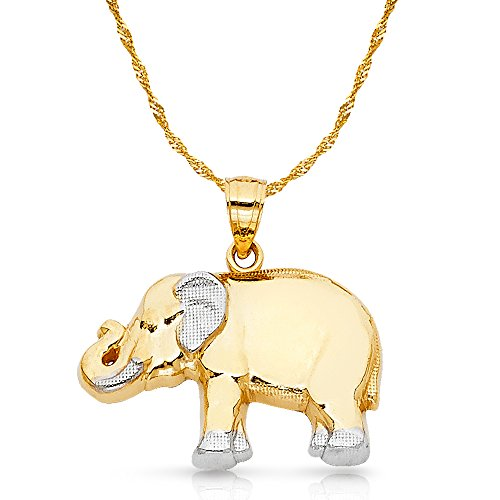 - 14K Two Tone Gold Elephant Charm Pendant with 1.8mm Singapore Chain Necklace - 18