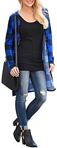 Forwelly Women`s Winter Plaid Print Cardigan Long Sleeve Lightweight Open Front Coat Ladies Casual Long Jacket