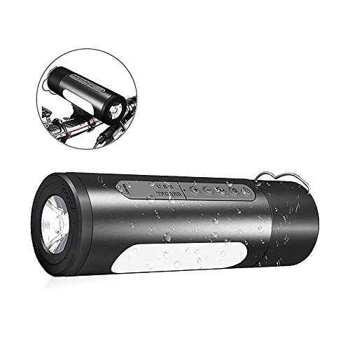 Outdoor Speakers Portable Bluetooth Bicycle Bike Speaker 5200mAh Power Bank Waterproof Speakers with Camp LED Flashlight, Built-in Mic, TF Card for Camping/Beach /Sports