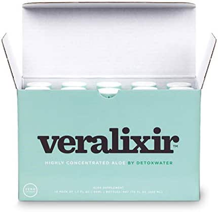 Veralixir by Detoxwater, Highly Concentrated Aloe Shot - Zero Calories, Zero Sugar (1.7oz Bottles, 10 Pack)