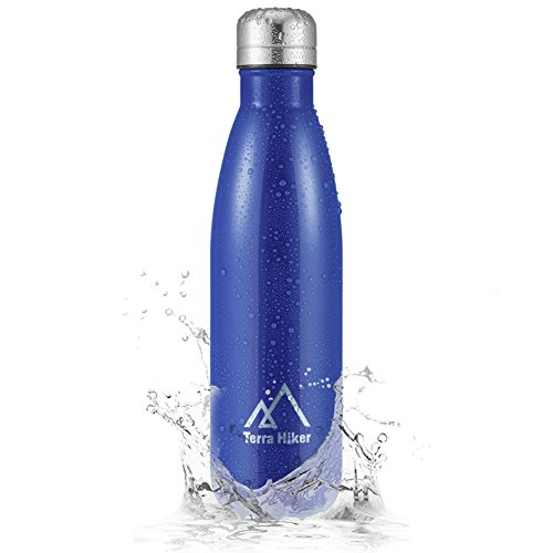 Terra Hiker Insulation Water Bottle, Double Walled Vacuum Stainless Steel Water Bottle, Condensation Free, BPA Free, for Sports & Outdoors, 18 oz/500 ml (Blue)