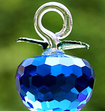 Gold Happy Chirstmas Tree Hanging Ornaments 50mm Crystal Glass Apple miniature Figurine Natale Home Decorations Figurines Crafts gifts by Gold Happy