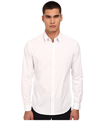Vince Men's Long-Sleeve Poplin Button-Front Shirt, White, Large