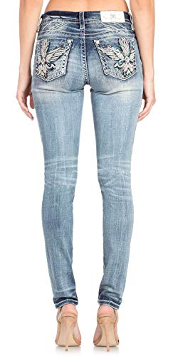 Jeans Embellished Skinny - Miss Me Women's Wing Embellished Pocket Easy Skinny Jeans (Medium Blue, 26)