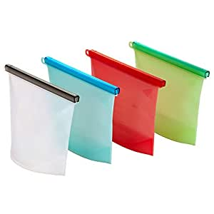 Reusable Silicone Food Storage Bag Set of 4 – Replace single use ziplock bags. Zip Seal Bags Keep Your Food Fresh. For Cooking, Sous Vide, Lunch, Snack, Sandwich, Freezer. With Free Smoothie Recipe Ebook