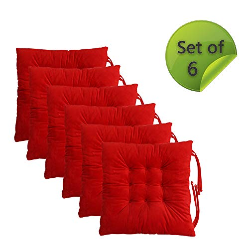 Comfy Soft Non Slip Chair Pads Seat Cushions Cover with Ties for Dining Chairs, Office Chairs, Carpeted Floors, Hardwood Floors, 100% Polyester Cover Chair Cushions (6, Red)