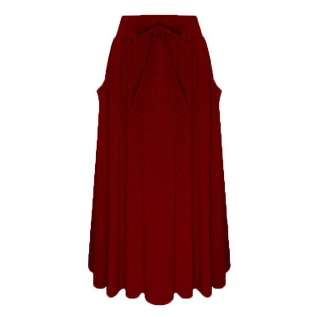 Casual/Elegant Dress/Bottoms Women's Summer Long Maxi Skirt Mermaid Solid Color Skirts Beach Skirt Wine Red by UCQueen