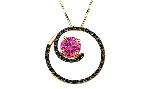 Jewel Zone US 2.32 Ct Simulated Pink Sapphire & Black Spinel Circle Pendant Necklace in 10K Solid Gold