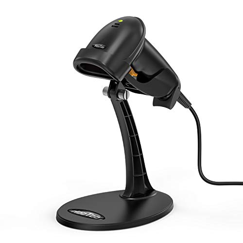 HooToo Barcode Scanner USB Barcode Scanner for Computer, Wired Barcode Scanner with Stand, Fast and Precise Auto Scan Support Windows/Mac Os/Android System, Work with Excel and Other Common Software