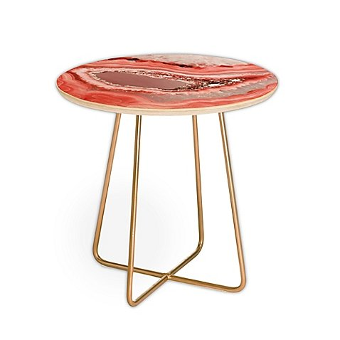 DENY Designs Emanuela Carratoni Coral Agate Round Side Table in Pink - Design Agate