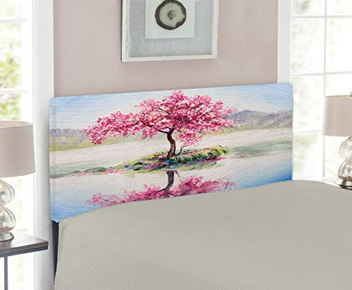 Size Cherry Twin Headboard (Ambesonne Country Headboard for Twin Size Bed, Image of Blooming Japanese Cherry Tree Sakura on The Lake Soft Romantic Culture Print, Upholstered Metal Headboard for Bedroom Decor, Multicolor)