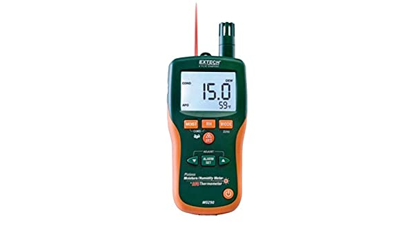 Extech MO290 Pinless Moisture Meter + IR Thermometer; Measure Humidity, Air Temperature (with built-in probe) plus non-contact InfraRed Temperature; ...