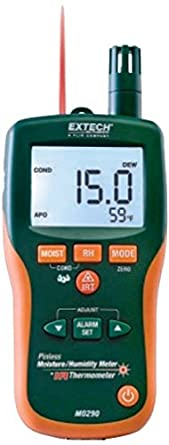 Extech MO290 Pinless Moisture Meter + IR Thermometer; Measure Humidity, Air Temperature (with
