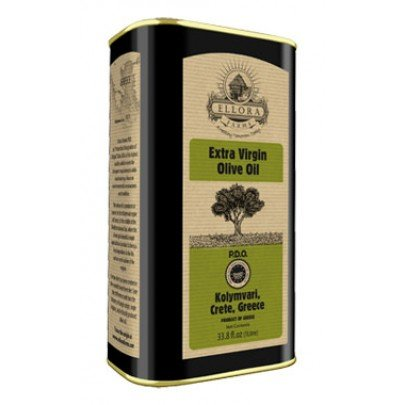 Ellora Farms | Certified PDO Extra Virgin Olive Oil | Mono-varietal | Cold Extracted & Traceable Olive Oil | Born in Ancient Crete, Greece | 1 Lt Tin, total 33.8 oz.