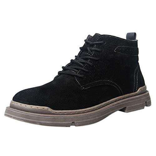 Men's High Top Casual Boots,RQWEIN Manmade Suede Boots Casual Boots Lace Up Crepe Rubber Sole Moccasin Shoes