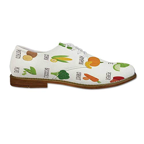 Kitchen Decor Wear Resisting Leather Shoes,Vegetables Pattern Retro Cafe Home Design Pumpkin Tomato Cabbage Pepper Patato for Men,US 9