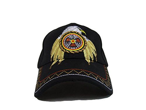 Native Pride Eagle Feathers Dream Catcher Black Embroidered Cap Hat