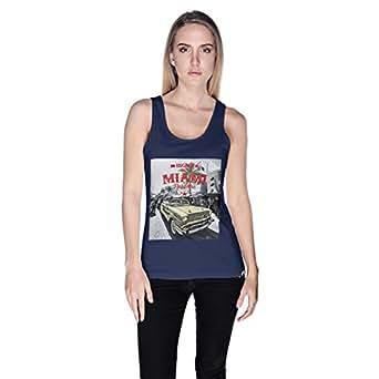 Creo Miami Car Beach Tank Top For Women - S, Navy Blue