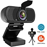 HD Webcam 1080P, USB Desktop Laptop Camera with110-Degree View Angle, Digital Web Camera with Stereo Microphone, Stream Webcam for Video Calling and Recording