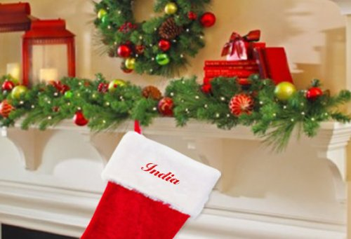 India Embroidered Name Red Plush Christmas Stocking by Fastasticdeal (Image #2)