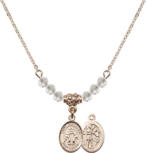 18-Inch Hamilton Gold Plated Necklace with 4mm Crystal Birthstone Beads and Gold Filled Saint Sebastian/Wrestling Charm. by F A Dumont