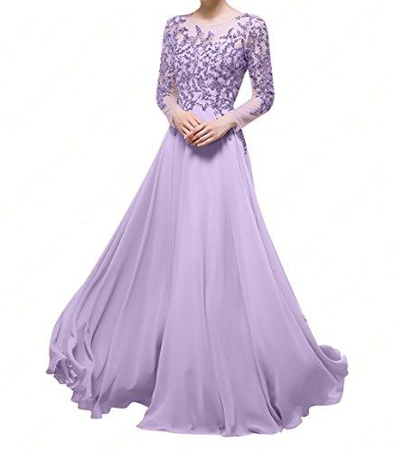 Damen Brautmutterkleider A Festlichkleider Neu Damen Ballkleider Charmant mit Langarm Linie Abendkleider 2018 Lilac w1t6xvY