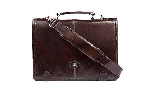 Cognac Buffalo Leather - Compact leather case bag by Yeti Leather (Cognac), Made from full grain buffalo leather, solid brass hardware, guranteed for quality.Accomodates laptop upto 14.2