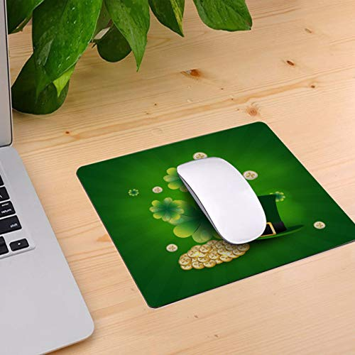 Computer Mouse Pad Custom, Charm Shamrock Hat and Gold Coin Mouse Mat Non-Slip Rubber Base and Jersey Surface Gaming Mouse Pad for Laptop/Desktop/Office/Home 11 x 10 inch