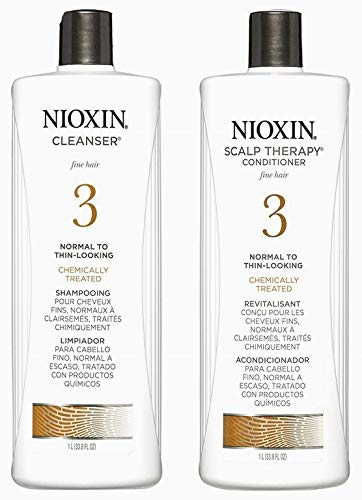 System 3 Cleanser Shampoo and Scalp Therapy Conditioner 33.8 oz Duo (Nioxin System 3 Starter Kit)