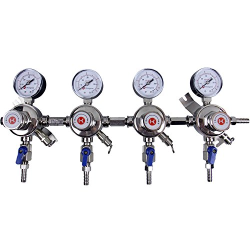 Kegco KC LH-54S-4 Premium Pro Series Four Product Secondary Beer Regulator, Chrome by Kegco