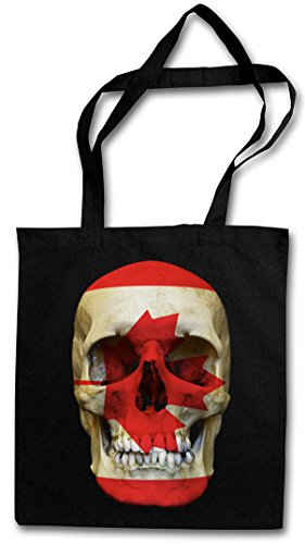 CLASSIC CANADA SKULL FLAG Hipster Shopping Cotton Bag Cestas Bolsos Bolsas de la compra reutilizables - Bandera cráneo Schädel Banner Fahne Kanada Canadá
