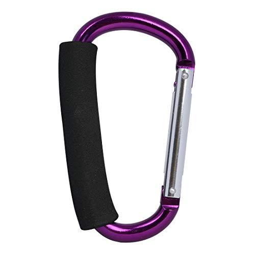 Gisdanchz Stroller Shopping Bag Clip, Carabiner Mom Clip Baby Carrige Hanging Bag Handle Gear Aluminum Toddler Stroller Alloy Mummy Clips Pram Pushchair Large Buggy Carabiner Hook Purple 1Q