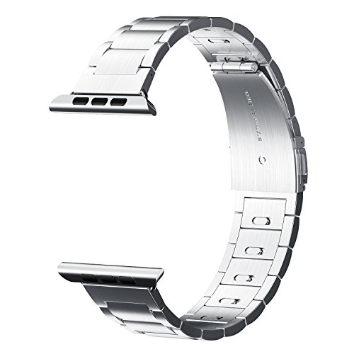 Price comparison product image EloBeth for Apple Watch Band 42mm Stainless Steel,iwatch Band Apple Watch Metal Band Clasp(Move Links by Hand) + Adapter for Apple Watch Series 3/Series 2/Series 1 (Silver 42MM)