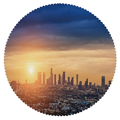 iPrint Round Tablecloth [ City,Sunrise at Los Angeles Urban Architecture Tranquil Scenery Majestic Sky,Navy Blue Apricot Ivory ] Home Accessories