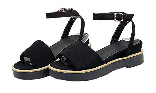 Mini con AllhqFashion Sólido Vestir Sandalias Mujeres Negro Hebilla de Tacón FBUBLD013340 5CCBwgtq