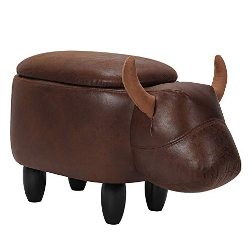 Cocoarm Animal Storage Ottoman, Upholstered Ride-on Footrest Stool with Vivid Adorable Animal Shape Home Decoration with Sponge Wood Legs, Load Capacity: 297lb (Brown Buffalo with Storage)