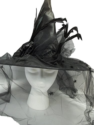 MGPS Victorian Witch Hat Black w/Spider Veil 18 inch by MGPS