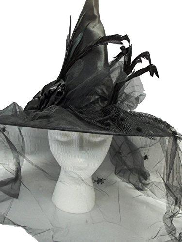 Satin Spider Witch Hat - MGPS Victorian Witch Hat Black w/Spider Veil 18 inch