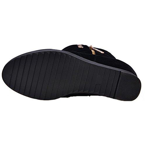 ENMAYER Womens Suede Material Mid-calf Flat Platform Height Increasing Boots Zipper Black p6VYortvG