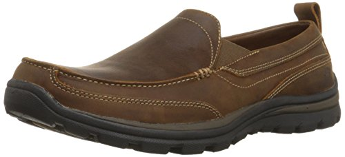 Skechers USA Men's Relaxed Fit Memory Foam Superior Gains Slip-On,8.5 XW US,Dark Brown