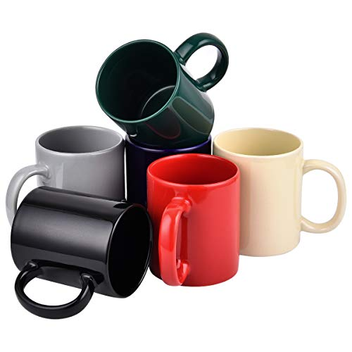 - Coffee Mug Set, Assorted Colors Tea Mugs, 11 Ounce Ceramic Coffee Mugs, Set of 6 Coffee Tea Cups for Home Family Restaurant
